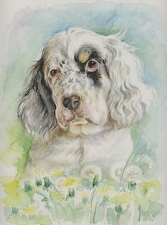 English setter puppy Art Print by Canisart. Home decoration for nursery. #dog #puppy #englishsetter #artprint #home #decoration #walldecor #nursery #CanisArtStudio