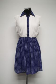 Navy Vintage dress with polka dots and white bodice