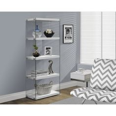 Glossy White Hollow-core Tempered Glass Bookcase - Overstock™ Shopping - Great Deals on Media/Bookshelves