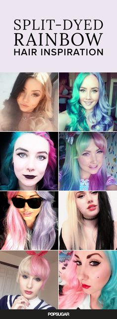 Obsessed with the rainbow hair trend but want to make it a little more you? These split-dyed (or half-and-half) hair color looks will definitely get people talking!
