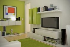 small space green living room design