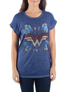 4aaabd7e DC Comics Wonder Woman - Juniors' Wonder Woman Blue Roll-Sleeve Graphic T-