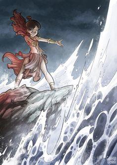 Avatar: The Last Airbender, Katara, water bender Korra Avatar, Team Avatar, Fanart, Legend Of Aang, Evvi Art, Poseidon, Character Art, Character Design, Anime Gifs