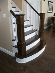newel posts remodel | Newel Posts On Split Finish Stair Design Ideas, Pictures, Remodel ...