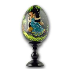 Golden bird russian egg this beautiful hand painted on decoupage 625 girl on a swing collectible wooden russian easter egg negle Gallery