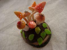 Купить Миниатюра. Грибная полянка. - миниатюра, грибы, миниатюра из пластики, миниатюра для кукол, кукольная миниатюра