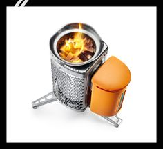 Biolite Campstove $130 (fire that charges batteries) We know a genius idea when we see one. This compact camp stove uses a thermoelectric generator to convert heat energy from your little blaze to electricity. That juice then powers a fan that helps keep the fire going, while excess power is diverted to recharge your cellphone or LED flashlights. It burns twigs, pine-cones, or wood pellets, and the rig then collapses into a packable unit. See? Genius.