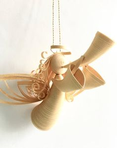 Paper Quilled Angel Angel Ornament Quilled Golden Angel 3D
