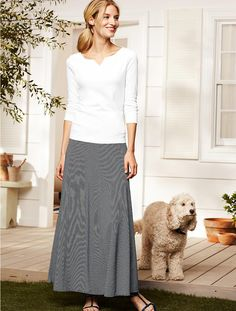 Talbots - Stripe Long Skirt | Downtime Casual | Misses