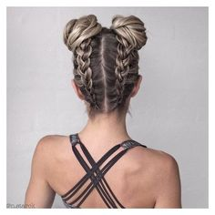 Say Hello To The New Instagram Trend Two Buns Hairstyle Ombre Hair ❤ liked on Polyvore featuring beauty products, haircare and hair styling tools