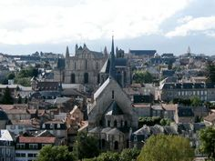 Historic centre of Poitiers with Church of Saint-Radegund, Cathedral of Saint-Pierre and Palace of Justice in the background