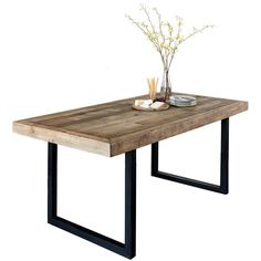 Industrial Wooden Dining Table made using Solid Reclaimed Wood with Black steel Legs. Wooden Dining Table Modern, Reclaimed Wood Dining Table, Solid Wood Dining Table, Extendable Dining Table, Industrial Dining, Industrial Chic, Industrial Furniture, Conservatory Dining Room, Unique Furniture