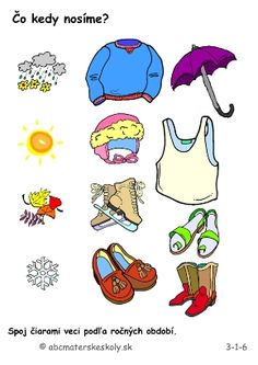 ročné obdobia- pracovné listy Winter Activities For Kids, Pre School, Teaching, Comics, Clothes, English, Calendar, Outfits, Clothing