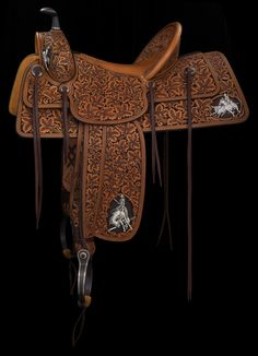 A custom saddle by Rick Bean Roping Saddles, Barrel Racing Saddles, Barrel Racing Horses, Horse Saddles, Cowboy Gear, Cowgirl And Horse, Western Cowboy, Western Tack, Western Saddles