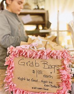 One Dollar Grab Bags/good idea. 5 dollars each at end of craft show? Fundraising Crafts, Fundraising Events, Cheer Fundraiser Ideas, Fundraising Companies, Fundraiser Baskets, Fundraiser Event, Craft Font, Craft Fair Displays, Manualidades