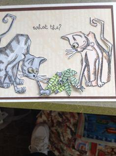 Tim Holtz Crazy cats card by Nancy Pietras