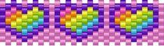 Striped Rainbow Hearts Kandi Pattern