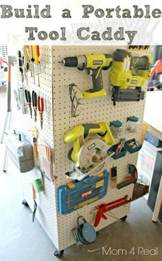 For Larry in the garage/shop - or even me in my scrapbooking/craft room. Make a portable storage caddy to hold your tools, paint supplies, and anything else! Diy Garage Storage, Storage Caddy, Tool Storage, Storage Ideas, Basement Storage, Storage Shelving, Shelving Units, Storage Room, Nerf Gun Storage