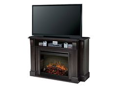 """Langley Fireplace - All-in-one media console provides storage for A/V components, integrated cord management, and a platform for up to a 52"""" plasma or LCD display. #steinhafels"""