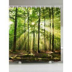 Sunlight Forest Tree Waterproof Fabric Shower Curtain (18 AUD) ❤ liked on Polyvore featuring home, bed & bath, bath, shower curtains, fabric shower curtains and waterproof shower curtains