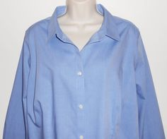 Talbots Woman 2X Blouse Wrinkle Resistant Blue 18W 20W NEW $69 NWT Plus Shirt…