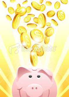 Piggy Bank with Falling Gold Dollar Coins Royalty Free Stock Vector Art Illustration