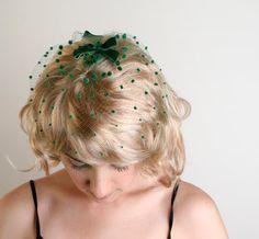 Vintage Birdcage Veil in Dark Emerald Green - Velvet Bows. $26.00, via Etsy.