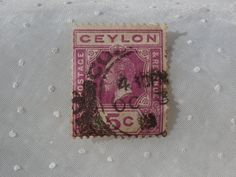 Ceylon Postage Stamp  Purple 5 cents George V by MendozamVintage