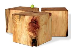 Cubes and Seats | Tree Trunk Chairs | David Stine Woodworking