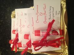 """Small gift idea.  My version of the """"Merry Kissmas & Chappy New Year"""" lip balm gift.  These were perfect for the moms in my son's playgroup."""