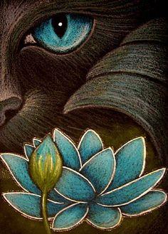 black art pictures | Art: BLACK CAT MERCAT BEHIND THE LOTUS FLOWER 2 by Artist Cyra R. Cancel