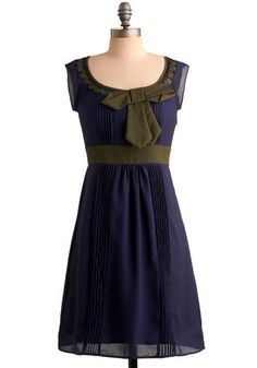 Adorable!  Love the colours and the cute little bow.  View from Above Dress - Blue, Green, Solid, Bows, Pleats, Trim, Wedding, Party, Work, Casual, A-line, Sleeveless, Spring, Summer, Fall, Mid-...