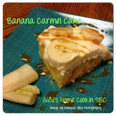 Banana Caramel Cake  Ingredients: Cake: 1 box yellow cake mix, plus ingredients to prepare as directed on box 1 small can sweetened condensed milk 1/2 cup carmel sauce  Topping: 1 small box instant banana pudding 1 1/2 cups milk 1 small container of Cool Whip Carmel sauce to drizzle 1 banana  Directions: Make yellow cake according to the box directions for a 9x13 cake. Let cool. Using a straw and poke holes all over the top of the cake. Pour sweetened condensed milk and caramel sauce over…