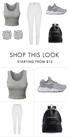 """Grey + White"" by aderrica-hair on Polyvore featuring LE3NO, NIKE, River Island and Balenciaga"