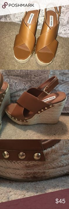 Steve Madden wedges Super cute brown wedges, worn once, little stains on the wedge as shown in pictures Steve Madden Shoes Wedges