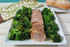Tender, juicy herb-roasted pork tenderloin served with a flavorful garlic-infused steamed broccoli.