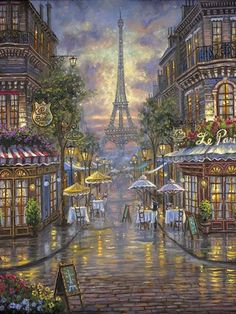 Diamond Painting Kits painting by numbers Home Decoration Picture of Rhinestones Cross Stitch Kits Paris Cafe Diamond Embroidery Paris Painting, City Painting, Building Painting, Tour Eiffel, City Landscape, Landscape Paintings, Theme Carnaval, Eiffel Tower Painting, Eiffel Tower Art