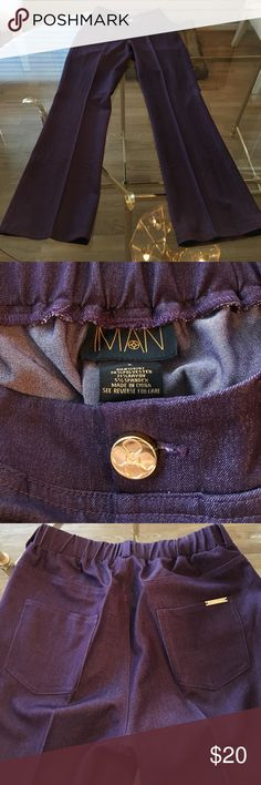 NWOT IMAN purple stretch dress pants. Small Purple IMAN stylish dress pants. Flare legs. Stretch waste. Never worn. Size small. IMAN Pants Boot Cut & Flare