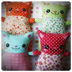 Little stuffed kitty cat dolls - pic for inspiration only, no pattern - such cute faces!