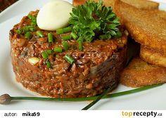 "Žampionový ""tatarák"" recept - TopRecepty.cz Diet Recipes, Vegan Recipes, Modern Food, Canapes, Meatloaf, Salmon Burgers, Stuffed Mushrooms, Food And Drink, Appetizers"
