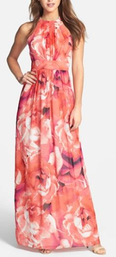 long #coral chiffon maxi dress http://rstyle.me/n/junrrr9te