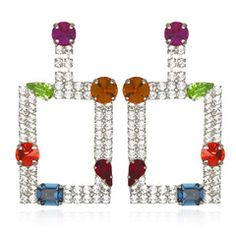 """80's Statement Earrings by Frangos Silver-plated Clear & colored Swarovski crystals Length 3"""" Width 1.5"""""""
