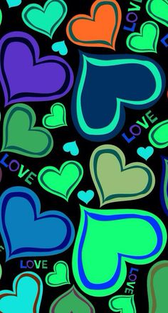 Colorful Hearts and Love Wallpaper