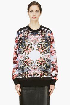 GIVENCHY Pink & Black Floral Print Zip Sweatshirt