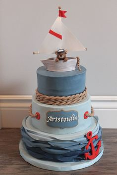 New Baby Boy Shower Cakes Nautical Boats Ideas Nautical Baptism, Nautical Cake, Nautical Theme, Boy Baptism, Backen Baby, Boat Cake, Baby Shower Cakes For Boys, Nautical Baby Shower Cakes, Sea Cakes