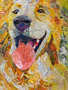 collie collage | Caramel, 12x16, collage of hand-painted papers on cradled panel