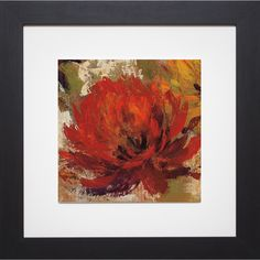 Silvia Vassileva 'Fiery Dahlias II Crop ' Framed Artwork, Brown