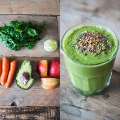 Green Super Smoothie w/ Avocado, Lime, Carrots, Apple & Wheatgrass (juicing & blending) Avocado Smoothie, Fruit Smoothies, Healthy Smoothies, Healthy Drinks, Smoothie Recipes, Healthy Snacks, Smoothie Diet, Detox Drinks, Healthy Eating