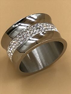 Bedazzle Boho ring 13mm wide, stainless steel with 150 Swarovski crystals