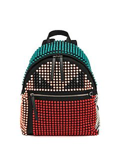 Fendi Monster Studded Nylon Backpack